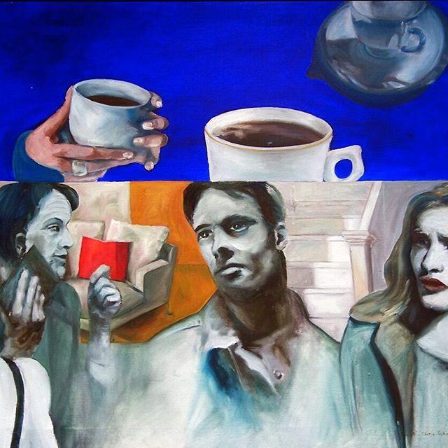 @embaoulu: Vilmalotta Schafhauserin Odotus osa II 2002, #nykytaidetta kauppakorkeakoulun kahvihuoneen seinällä. Vilmalotta maalaa välähdyksiä kohtaamisista. #EMBAOULU #johtamiskoulutus