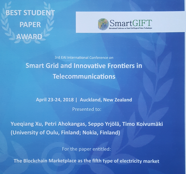 The best paper award given to a smart grid paper