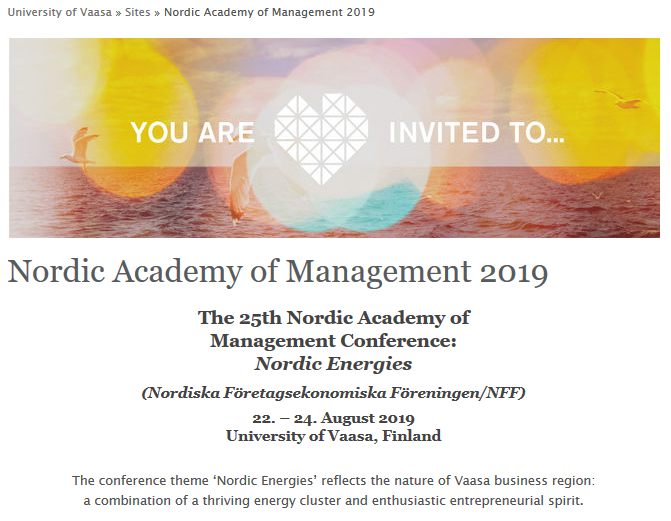 Call for abstracts to the Nordic Academy of Management Conference 2019 open